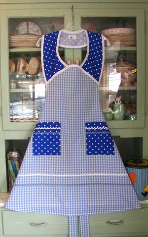 1940 blue gingham blue polka dot