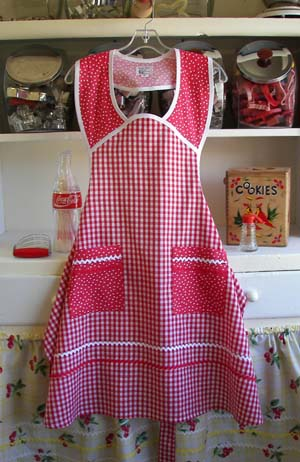 1940 Red gingham red polka dot