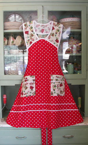 1940 red polka dot christmas stockings click for larger view - Christmas Apron