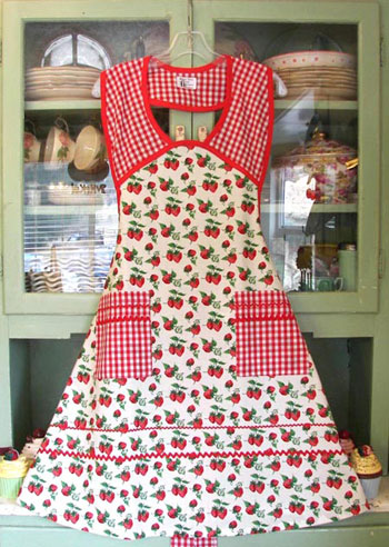 1940 Strawberry Red Gingham Women Apron