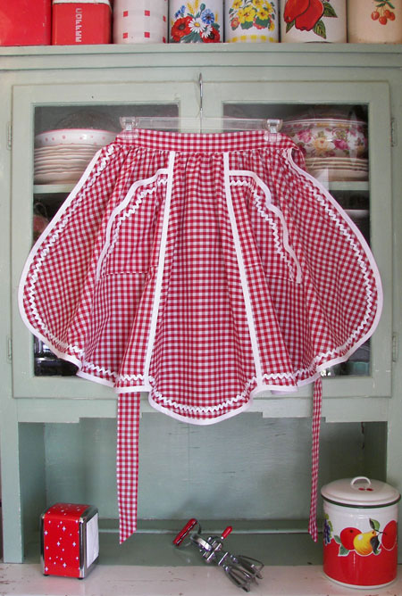 1944 Red Gingham Half Apron