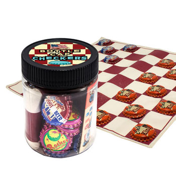 Checkers Bottle Cap Checker Game