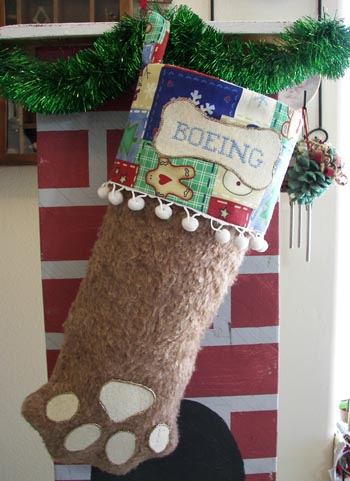 Dog or Cat Paw Christmas Stocking brown with white trim