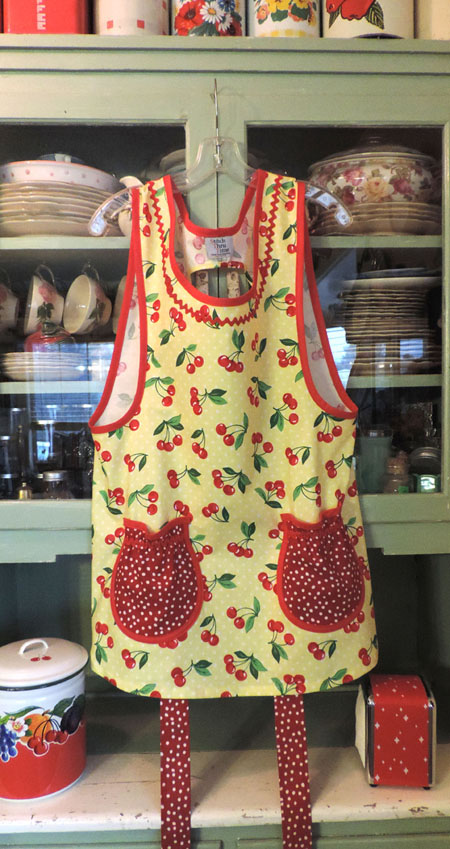 Grandma Cherry Yellow Polka Dot Apron