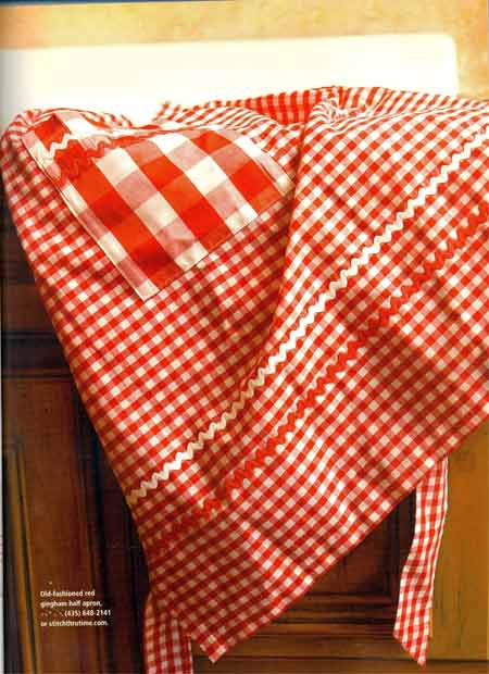 Retro Red Gingham half apron