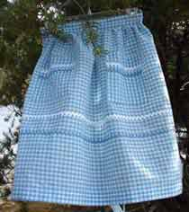 Women's Blue Gingham half apron