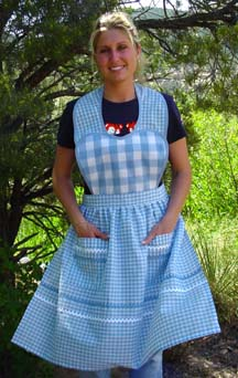 Heart Apron in blue, red, or yellow gingham