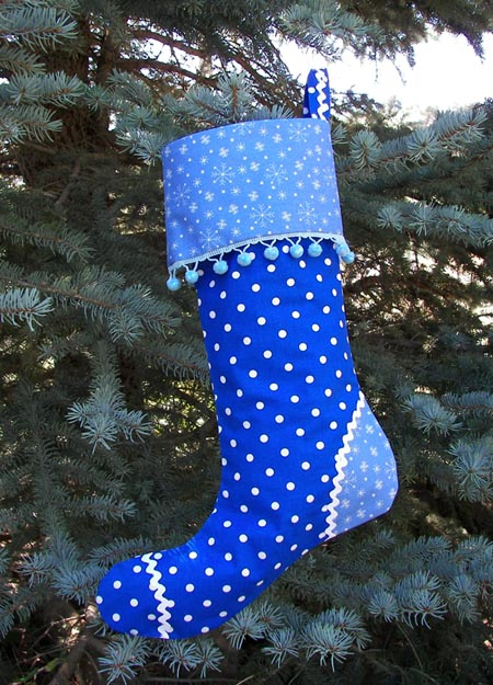 Blue Polka Dot Christmas Stocking