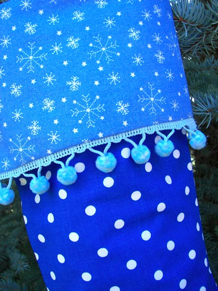 Blue Polka Dot Christmas Stocking Close UP