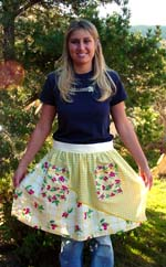 Cherry Yellow half apron