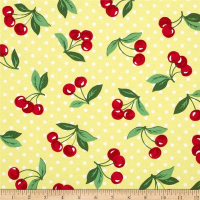 Red Cherries Yellow Polka Dot