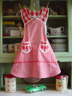 1940 Child red gingham apron, click for more views
