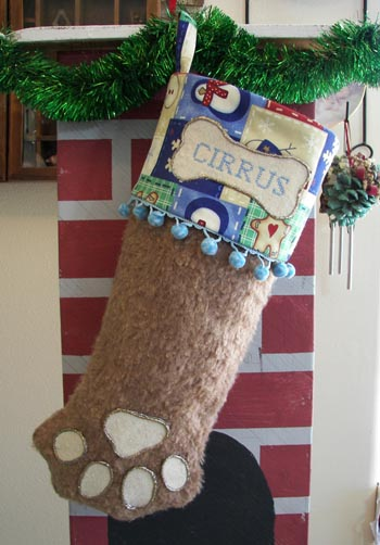 Dog or Cat Paw Christmas Stocking brown fur with blue trim