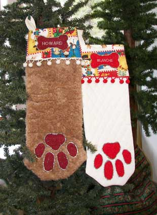 Dog Paw Christmas stocking, click for large view