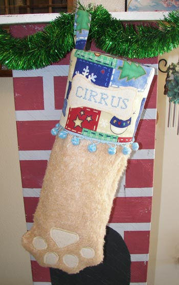 Dog or Cat Paw Christms Stocking Tan with blue trim