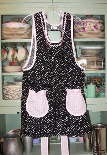Grandma Black Polka Dot Pink Gingham Pockets