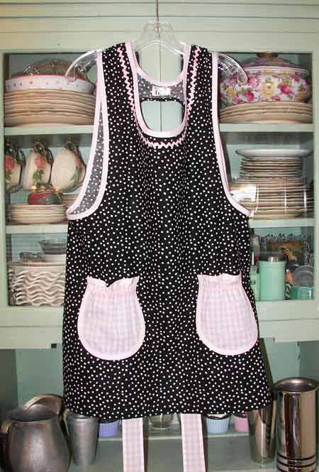 Grandma Black Polka Dot with pink gingham pockets
