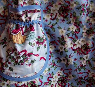 Close up Grandma Holiday Rose apron