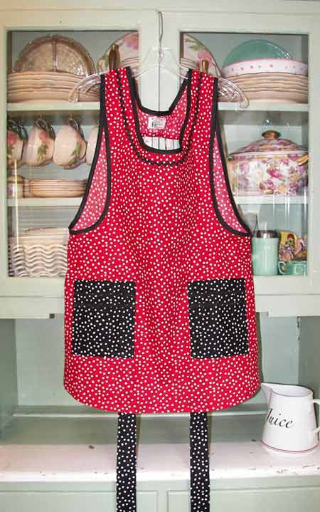 Grandma Red Polka Dot with black polka dot pockets