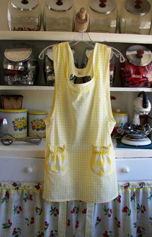 Grandma yellow gingham apron