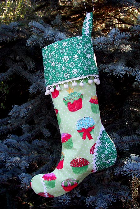 Christmas Cupcake Green Polka Dot Christmas Stocking
