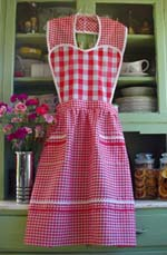 Red Gingham heart apron, click for more colors and larger view