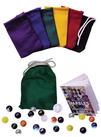 Old Fashioned Marbles with canvas pouch and handbook