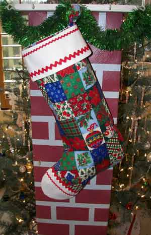 Large Old Time Christmas Stocking, click for larger view