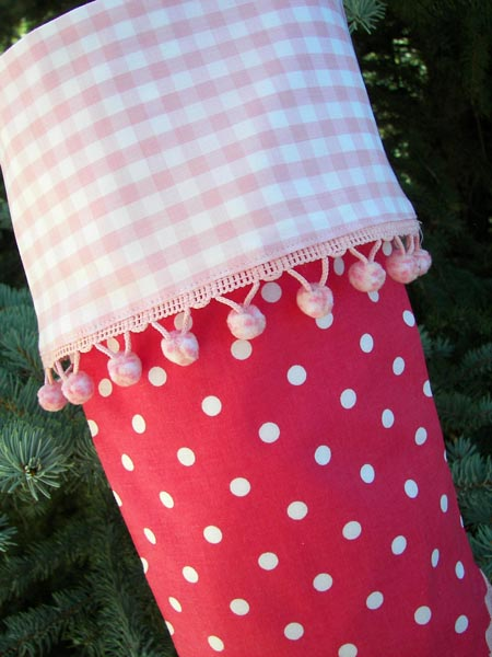 Pink Polka Dot Christmas Stocking close up