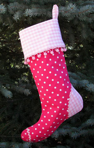 Pink Polka Dot Christmas Stocking