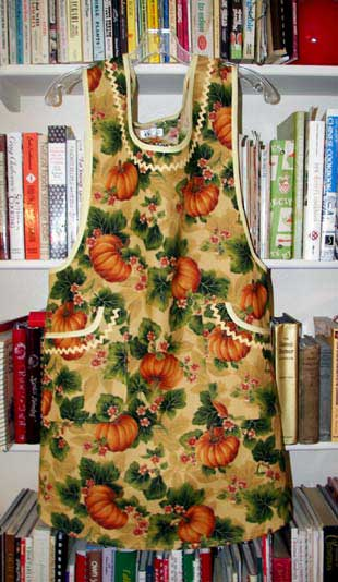 Violet apron in Harvest gold pumpkins, click for larger view