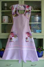 1940 Raspberry Floral with lilac gingham
