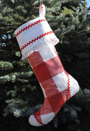 Red Check Christmas Stocking