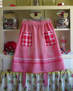 Red gingham half apron