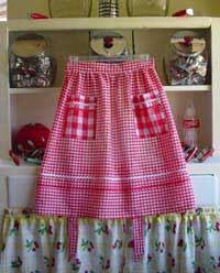 Red gingham half aprons