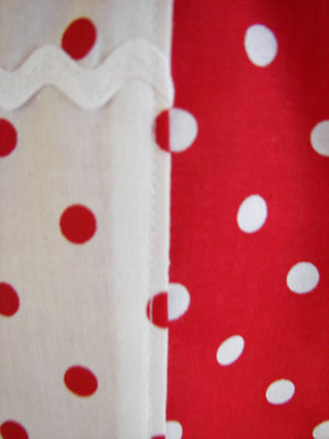 red / white polka dot close up