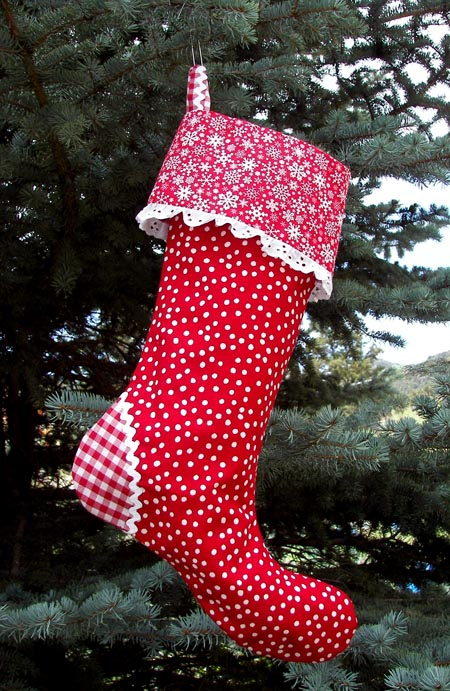 Retro Red Polka Dot red gingham Christmas Stocking