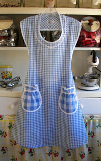 Rose apron in blue gingham, click for larger view