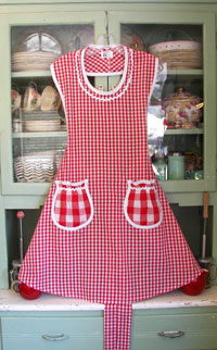Rose apron Red gingham