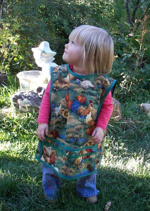 Small child apron chicken garden
