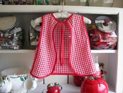 Little girl red gingham back bib