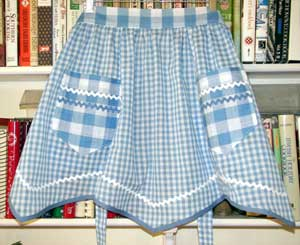 Victory Blue Gingham Half Apron