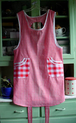 Violet Red Gingham Apron