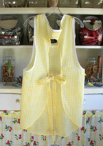 Violet apron yellow gingham back