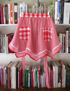 Victory red gingham apron