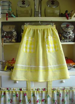 Yellow Gingham Half Apron
